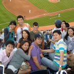 Students attend a baseball game