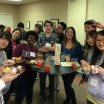 Students enjoy food and games together