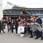Students visit a baseball stadium