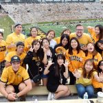 Students attend a Mizzou football game