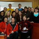 16 MU students pose for a photo in a classroom in Korea.