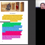 Screenshot shows the student's video in the top right while a book with highlighted text is on the screen.