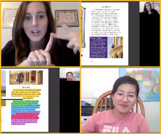 Collage of screenshots show a teacher and instructor discussing a reading through online video chat software.