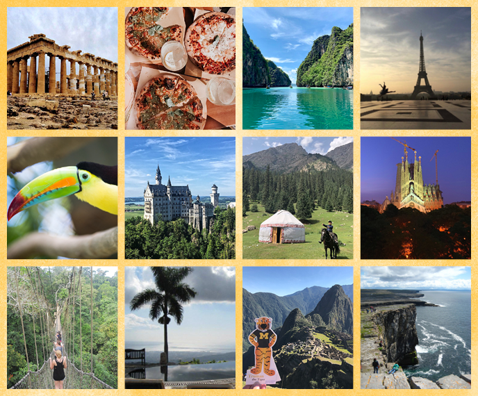 Collage of images representing 12 different countries